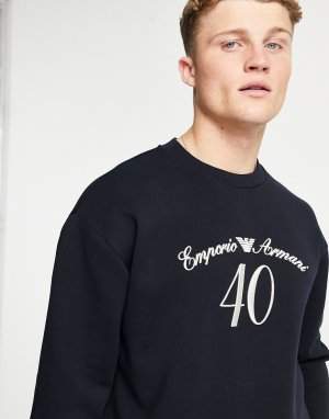 Свитшот черного цвета с принтом к 40-летию -Черный цвет Emporio Armani