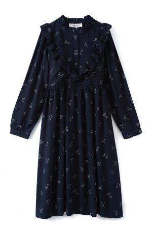 Темно-синее платье с принтом Pamelie Bonpoint. Цвет: синий