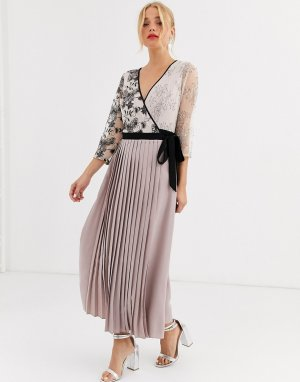 Платье макси с запахом и плиссированной юбкой -Розовый Little Mistress