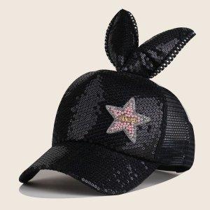 Бейсбольная кепка с блестками для девочек SHEIN. Цвет: чёрный