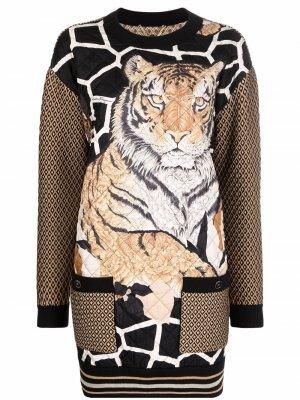 Платье-свитер с круглым вырезом и принтом Salvatore Ferragamo. Цвет: черный