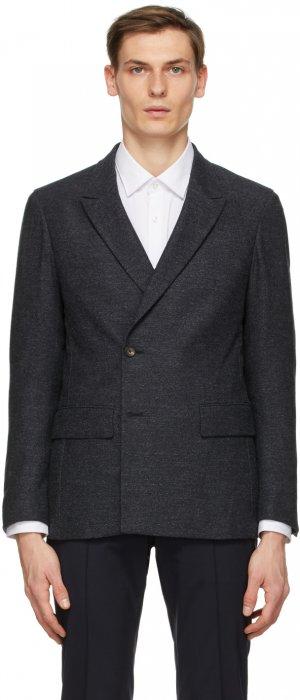 Grey Wool Double-Breasted Blazer Z Zegna. Цвет: gray