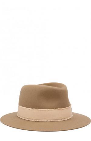 Фетровая шляпа Andre с лентой Maison Michel. Цвет: бежевый