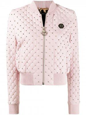 Куртка-бомбер с заклепками Philipp Plein. Цвет: розовый