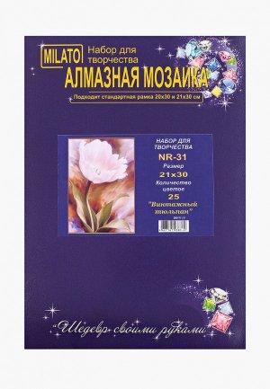 Набор для творчества Милато алмазная мозаика Винтажный тюльпан, 25 цветов. Цвет: розовый