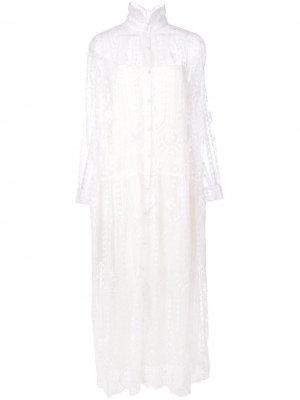 Кружевное платье миди Adam Lippes. Цвет: белый