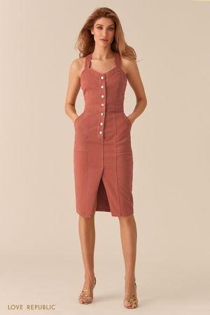 Джинсовое платье-футляр с рядом пуговиц LOVE REPUBLIC