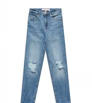 Средне-выбеленные синие джинсы бойфренда Petite-Голубой Miss Selfridge