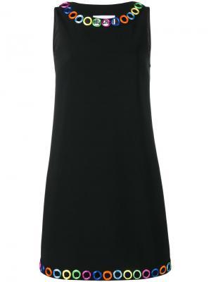 Платье с отделкой зеркальцами Moschino. Цвет: чёрный