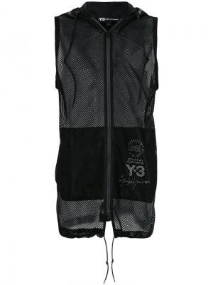 Сетчатый жилет с капюшоном Y-3. Цвет: черный