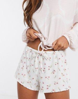 Белые пижамные шорты от комплекта с цветочным принтом -Белый Gilly Hicks