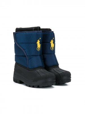 Зимние сапоги с вышитым логотипом Ralph Lauren Kids. Цвет: синий