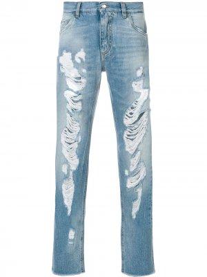 Джинсы кроя слим с рваными деталями Dolce & Gabbana. Цвет: синий