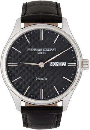 Silver & Black Classics Quartz Day-Date Watch Frédérique Constant. Цвет: silver/blac