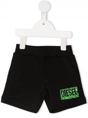 Шорты с логотипом Diesel Kids. Цвет: черный