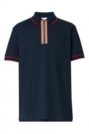 Хлопковая футболка поло на молнии Burberry. Цвет: синий