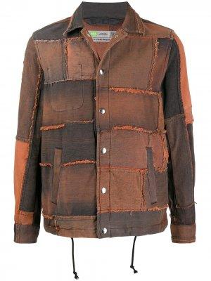 Джинсовая куртка в технике пэчворк Diesel. Цвет: оранжевый