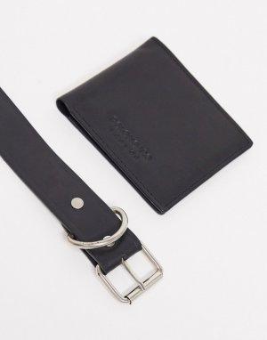 Подарочный набор из кожаных кошелька и ремня Miller-Черный Bolongaro Trevor
