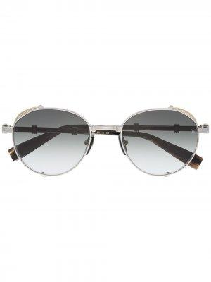 Солнцезащитные очки в квадратной оправе Balmain. Цвет: черный
