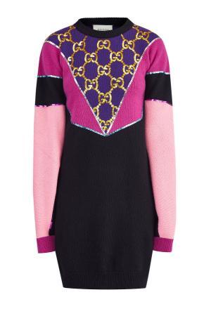 Платье-colorblock из объемной пряжи с вышивкой пайетками GUCCI. Цвет: мульти