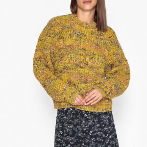 Пуловер шерстяной вязаный с круглым вырезом SAMSOE AND. Цвет: желтый меланж