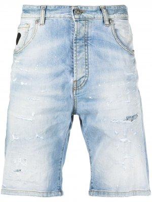 Джинсовые шорты с эффектом потертости John Richmond. Цвет: синий