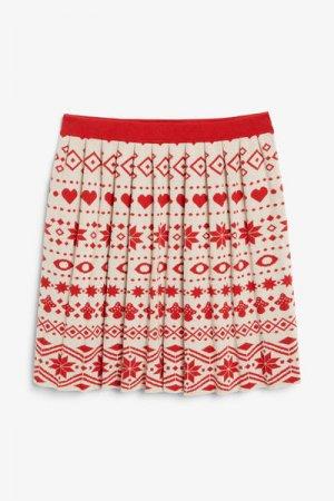Мини-юбка с праздничным принтом Monki. Цвет: бежевый, красный