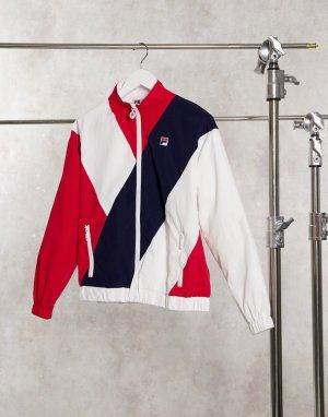 Спортивная куртка в полоску стиле ретро -Белый Fila