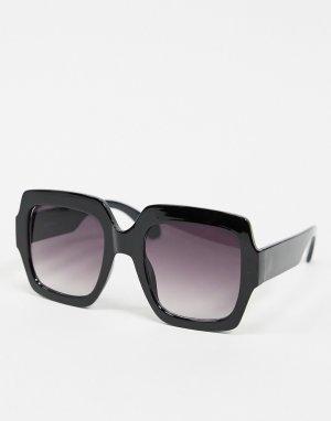 Черные большие квадратные солнцезащитные очки -Черный AJ Morgan