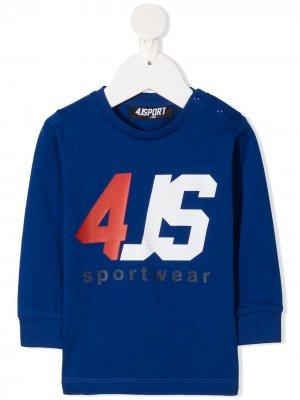Топ с длинными рукавами и логотипом Cesare Paciotti 4Us Kids. Цвет: синий
