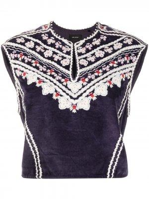 Укороченный топ Camena с цветочной вышивкой Isabel Marant. Цвет: фиолетовый