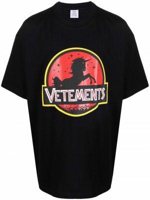 Unicorn logo-printed T-shirt VETEMENTS. Цвет: черный