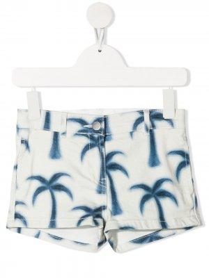 Джинсовые шорты с принтом Stella McCartney Kids. Цвет: белый