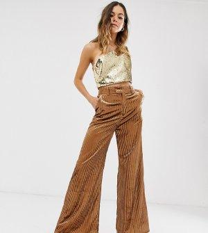 Блестящие бархатные брюки с широкими штанинами Ebonie n Ivory-Коричневый цвет ivory
