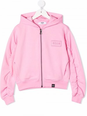 Embroidered logo zip-up hoodie MSGM Kids. Цвет: розовый