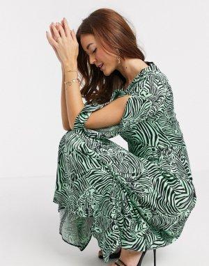 Платье миди с абстрактным принтом зебра -Мульти Closet London