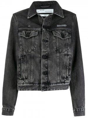 Джинсовая куртка с эффектом потертости Off-White. Цвет: черный