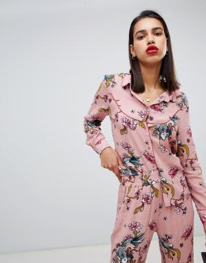 Блузка с цветочным принтом из комплекта Sofie Schnoor. Цвет: мульти