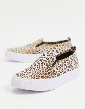 Кеды-слипоны с леопардовым принтом Dotty-Многоцветный ASOS DESIGN