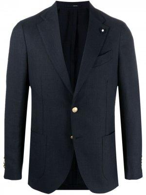 Пиджак строгого кроя с брошью Lardini. Цвет: синий