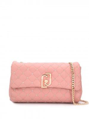 Большая стеганая сумка через плечо LIU JO. Цвет: розовый