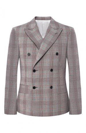 Шерстяной двубортный пиджак CALVIN KLEIN 205W39NYC. Цвет: разноцветный