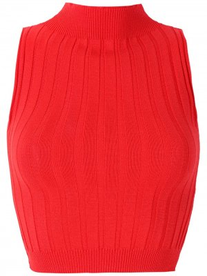 Трикотажная блузка с высоким воротником Eva. Цвет: красный