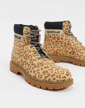 Кожаные походные байкерские ботинки с леопардовым принтом CAT-Мульти Cat Footwear