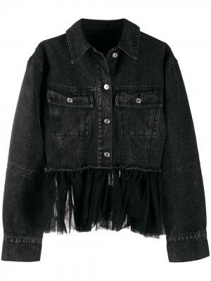 Деконструированная джинсовая куртка Brognano. Цвет: черный