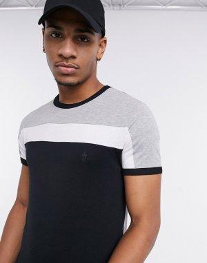 Черная футболка в стиле колор-блок с контрастной полоской -Черный French Connection