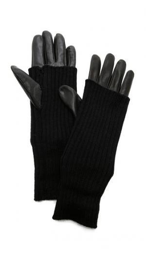Knit & Leather Texting Gloves Carolina Amato