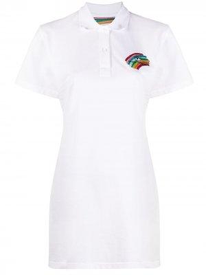 Платье Pride с воротником поло Chiara Ferragni. Цвет: белый