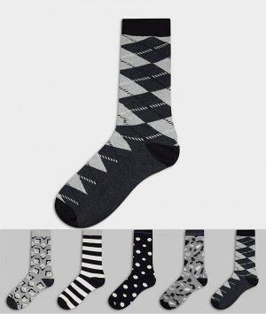 5 пар носков с принтом HS by -Мульти Happy Socks