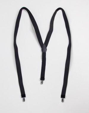 Черные бархатные подтяжки -Черный ASOS DESIGN